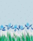 Безшовная картина с флористическим орнаментом, радужками в стиле grunge на белой предпосылке Стоковое Фото