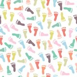 Безшовная картина с цветастыми следами ноги Стоковая Фотография