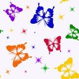 Безшовная картина с цвета 6 бабочками и звездами Стоковое Фото