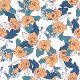 Безшовная картина с цветением яблока Круглый калейдоскоп цветков и флористических элементов Стоковые Изображения RF