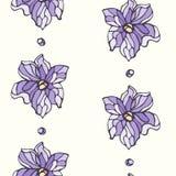 Безшовная картина с цветками лаванды Стоковое Изображение