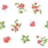 Безшовная картина с цветками вышитыми годом сбора винограда Стоковое Изображение RF