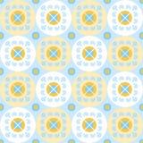 Безшовная картина с цветками в белых и желтых кругах Бесплатная Иллюстрация