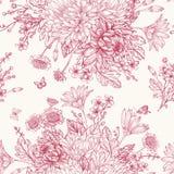Безшовная картина с цветками лета Стоковые Изображения RF