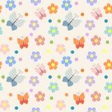 Безшовная картина с цветками и бабочками Стоковое Изображение