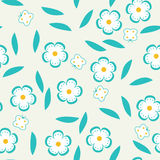 Безшовная картина с цветками и бабочками. Стоковые Изображения RF