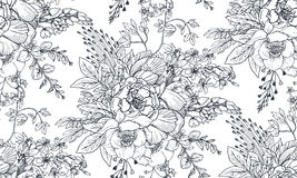 Безшовная картина с цветками и заводами нарисованными рукой бесплатная иллюстрация