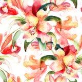 Безшовная картина с цветками лилии Стоковое Изображение