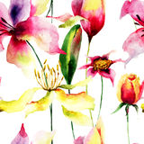 Безшовная картина с цветками лилии Стоковая Фотография