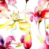 Безшовная картина с цветками лилии Стоковое Изображение RF