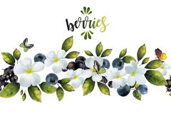 Безшовная картина с цветками и ягодами Стоковая Фотография