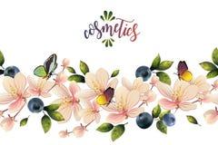 Безшовная картина с цветками и ягодами Стоковые Изображения RF