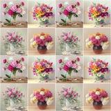 Безшовная картина с цветками на светлой предпосылке поединка стоковое изображение