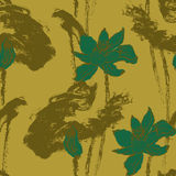 Безшовная картина с цветками лотоса Вектор запаса Стоковые Фото