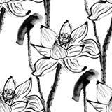 Безшовная картина с цветками лотоса Вектор запаса Стоковое Изображение RF