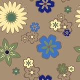 Безшовная картина с цветками, ретро стиль Стоковые Изображения