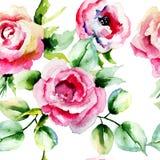 Безшовная картина с цветками роз иллюстрация вектора