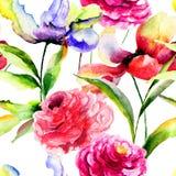 Безшовная картина с цветками тюльпана и пиона Стоковая Фотография RF