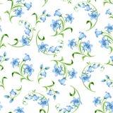 Безшовная картина с цветками bluebell r стоковые изображения rf