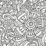 Безшовная картина с цветками doodle в черно-белом Стоковые Изображения