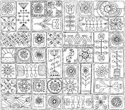 Безшовная картина с цветками doodle, сердцами бесплатная иллюстрация