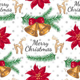 Безшовная картина с цветком и колоколами рождества Стоковые Изображения