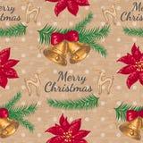 Безшовная картина с цветком и колоколами рождества Стоковое фото RF
