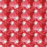 Безшовная картина с цветком маков Комплект вектора зацветать флористический для wedding приглашений и поздравительная открытка ко иллюстрация штока