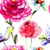 Безшовная картина с цветком тюльпана и пиона Стоковое Изображение