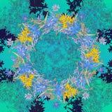 Безшовная картина с цикорием Круглый калейдоскоп цветков и флористических элементов Стоковое фото RF