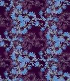 Безшовная картина с цикорием Круглый калейдоскоп цветков и флористических элементов Стоковая Фотография RF