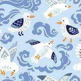 Безшовная картина с чайками в декоративном стиле иллюстрация штока