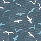 Безшовная картина с чайками Стоковое Фото