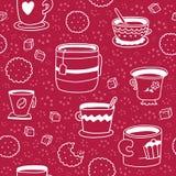 Безшовная картина с чашками, печеньями и сахаром нарисованными рукой Стоковое фото RF