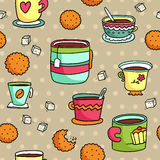 Безшовная картина с чашками, печеньями и сахаром drawb руки Стоковое Фото