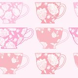 Безшовная картина с чашками, картина розовых пионов Стоковое Изображение RF