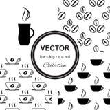 Безшовная картина с чашкой кофе Иллюстрация штока