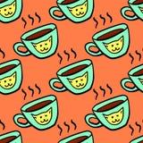 Безшовная картина с чашкой Стоковая Фотография RF
