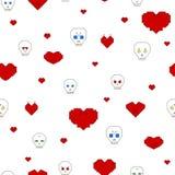 Безшовная картина с черепами и сердцами Стоковые Фотографии RF