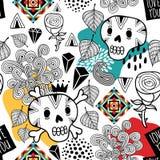 Безшовная картина с черепами doodle и романтичными цветками бесплатная иллюстрация