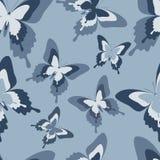 Безшовная картина с черными, белыми и серыми бабочками Стоковые Изображения