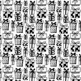 Безшовная картина с черными подарочными коробками на белой предпосылке иллюстрация вектора
