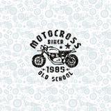 Безшовная картина с чертежами мотоциклов и печать для футболки Стоковое Изображение RF