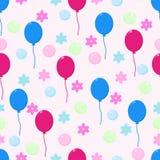 Безшовная картина с шариками цветков и пузырями - иллюстрацией вектора, eps иллюстрация вектора