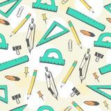 Безшовная картина с школьными принадлежностями Иллюстрация вектора