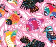 Безшовная картина с экзотическими австралийскими птицами и тропическими листьями на розовой предпосылке иллюстрация вектора