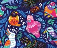 Безшовная картина с экзотическими австралийскими птицами и тропическими листьями на предпосылке сини военно-морского флота бесплатная иллюстрация