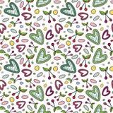 Безшовная картина с элементами вишни и сердца романтичными Для дизайна лета сезона иллюстрация штока