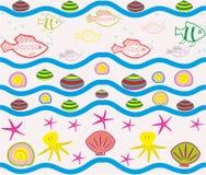 Безшовная картина с элементами моря Стоковое Изображение RF