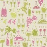 Безшовная картина с элементами вина. Стоковое Изображение